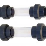 Zichtglas met 3/3 koppeling (2x